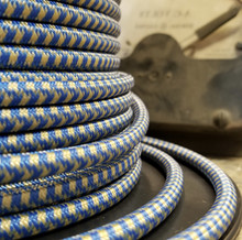 Blue and Gold Hounds Tooth Round Cloth Covered 3-Wire Cord, Nylon - PER FOOT
