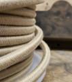 Tan Round Cloth Covered 3-Wire Cord, Cotton - PER FOOT