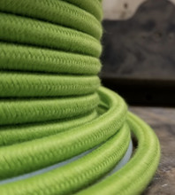 Lime Green Round Cloth Covered 3-Wire Cord, Cotton - PER FOOT