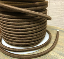 Brown Round Cloth Covered 3-Wire Cord, Cotton - PER FOOT