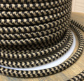 Black & Tan Hounds-Tooth Round Cloth Covered 3-Wire Cord, Cotton - PER FOOT