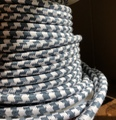 Slate Blue & White Large Hounds-Tooth Round Cloth Covered 3-Wire Cord, Cotton - PER FOOT