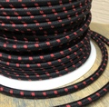 Black w/ Red Double Stitch Tracer Round Cloth Covered 3-Wire Cord, Cotton - PER FOOT