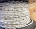 White Twisted Cloth Covered Wire, Rayon - PER FOOT