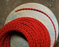 red twisted cloth covered 2 wire