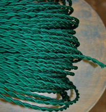 green twisted cloth covered 2 wire