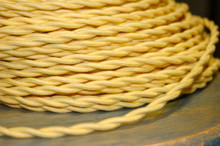 yellow cotton twisted cloth covered 2 wire