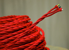 Red 3-Wire Twisted Cloth Covered Cord, Rayon - PER FOOT