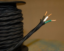 black overbraid cloth covered 3 wire