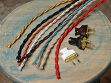 8' Twisted Cloth Covered Wire & Plug, Vintage Light Rewire Kit, Lamp Cord