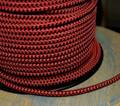 Black & Red Hounds-Tooth Round Cloth Covered 3-Wire Cord, Nylon - PER FOOT