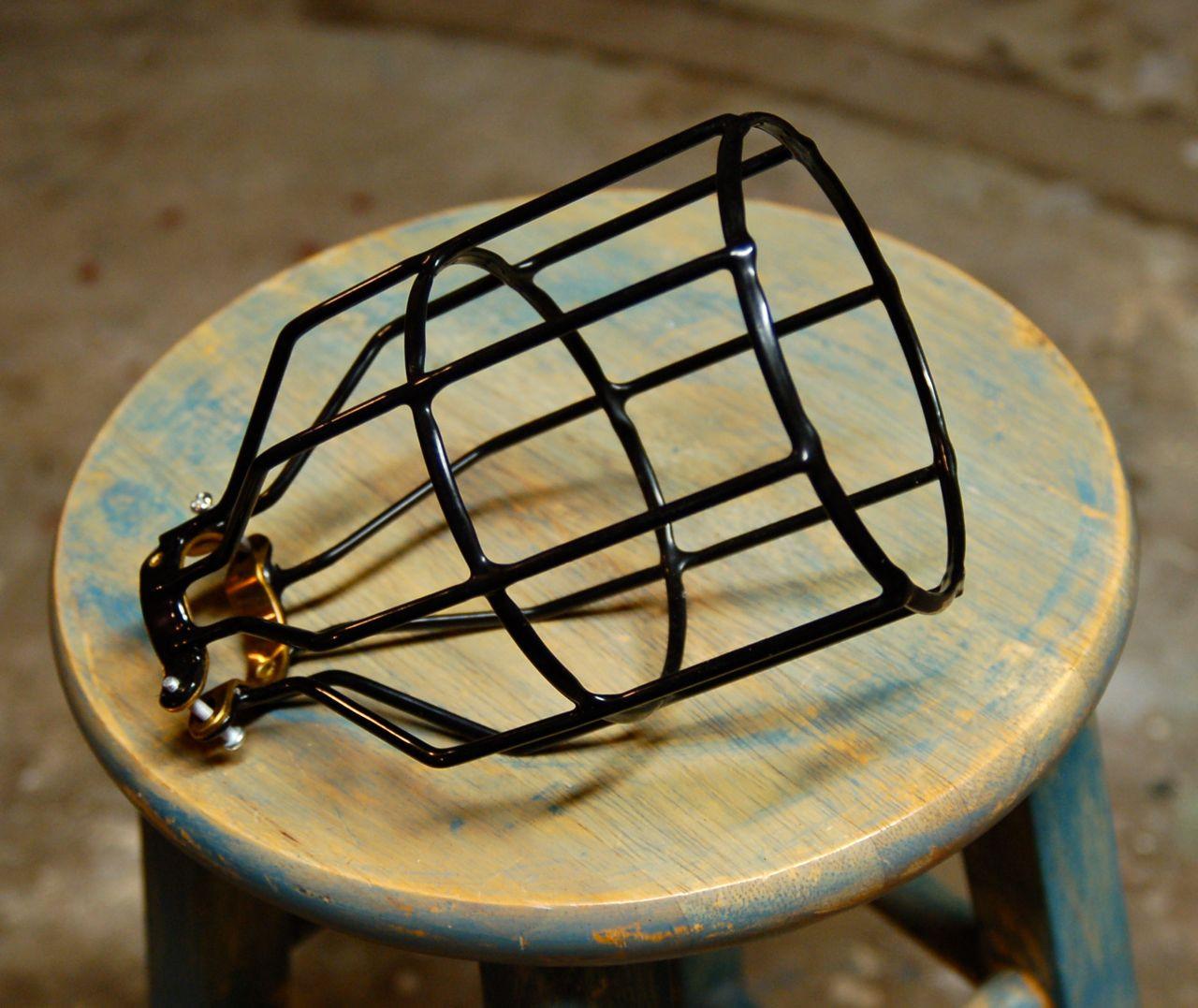 black bulb guard clamp on lamp squirrel cage snake head. Black Bedroom Furniture Sets. Home Design Ideas