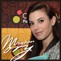 Meghan Ory tasting America's best chocolate truffles at the Emmys