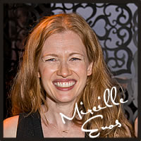 Mireille Enos with Cocopotamus Chocolate tasting chocolate truffles at the Golden Globe Awards