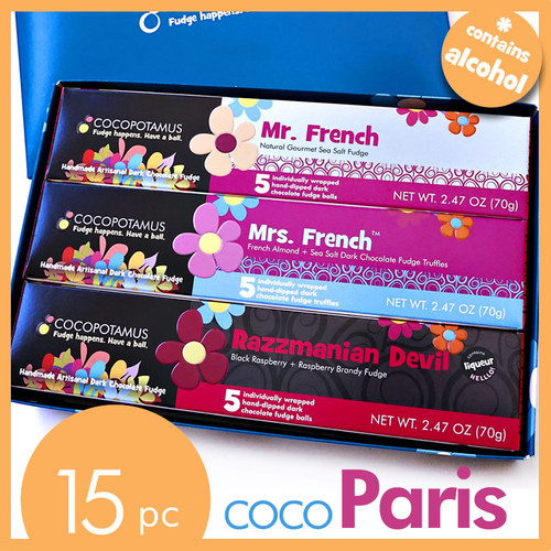 Assorted gourmet chocolate truffle set - COCOPARIS. All natural, handmade, gluten-free chocolate.