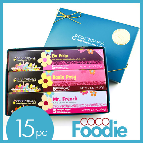 CocoFoodie chocolate truffles set. Contains 5 pc truffle box each of Mr. French, Rosie Posy and Bo Peep.