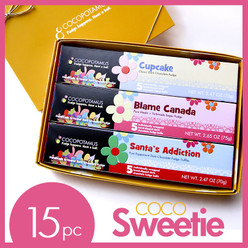 CocoSweetie dark chocolate truffle assorted set. Contains Cupcake, Blame Canada, and Santa's Addiction.