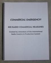 COMMERCIAL EMERGENCY BOOK RADIO COPYWRITING ADVERTISING HEADLINES