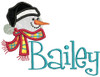 "Picture 3"" Applique Snowman with our #48 Fun Font to spell ""Bailey"" - Font is not included in this set."