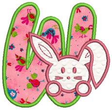 No 366 Applique Bunny Machine Embroidery Font Designs 4 inch high