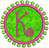 Small applique preppy circle & dots frame with a K from our #340 Doodle Font set.