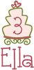 #3 Ella  - LG cake w/LG heart add-ons & #353 Doodle Font [the #3 was reduced by 15%]