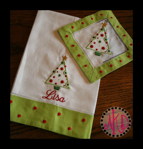 """We used our #130 Lara Script to spell """"Lisa"""" below and stitched the tree without applique fabric for a different look. NOTE: No fonts or letters are included in this set."""