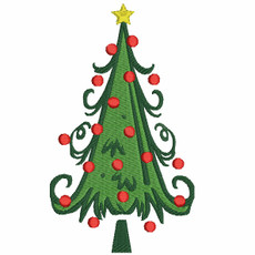 No 61 Swirly and Heart Christmas Tree Machine Embroidery Designs