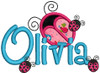"2"" applique ladybug without dots with our #127 Sharpy Font to spell Olivia, PLUS 3 small standard filled ladybugs from our #462 Ladybug set."