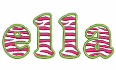 No 355 Lowercase Zebra Filled Font Machine Embroidery Designs 1.5 inch high