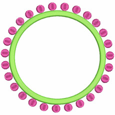 No 394 Preppy Circle Dots Monogram Frames Embroidery Designs