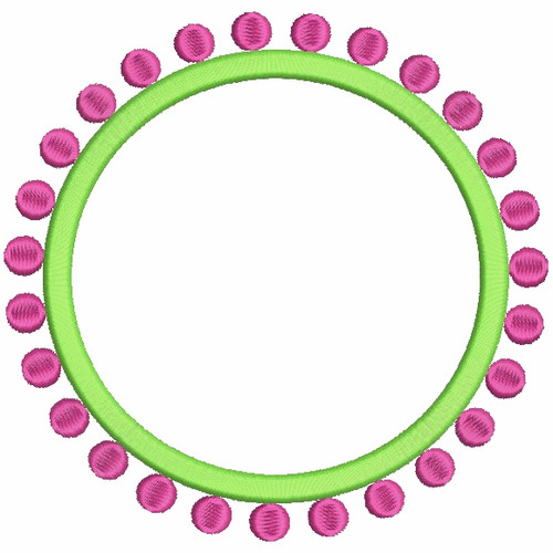 394 Preppy Circle Dots Monogram Or Font Frames Embroidery
