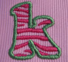 "Close-up picture of the ""k"" from our Zebra Filled Font [no font is included in this set]."