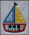 Example of the Satin Stitch Sailboat with fabric. Madeira Thread Colors Used: #1683 Yellow #1747 Red #1775 Blue #1800 Black