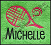 Stitched on a Lime Green Towel [one of our Blank Sports Towels] with our large #461 Racquet and Ball Tennis Design