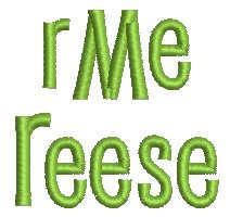 No 1382 Reese Font and 3 Letter Monogram Machine Embroidery Designs 1 inch high