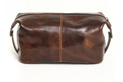 Milano Travel Kit | Dark Brown | Polished calf-skin leather