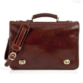 Nevio Double Compartment Messenger Bag | Color Brown | Brass and Stainless Steel Hardware