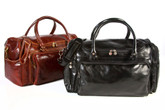 Piana Duffle | Italian Calfskin Leather | Black and Brown