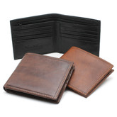 Alberto Bellucci Mens Italian Leather Classic Bifold Wallet with Zippered Compartment