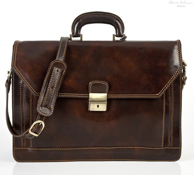 Capri Triple Gusset Flap Over Briefcase | Front with Strap  | Color Dark Brown