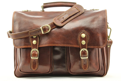 Parma Leather Messenger Bag | Front | Color Brown