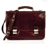 Rimini Double Compartment Italian Leather Briefcase | Front | Color Brown