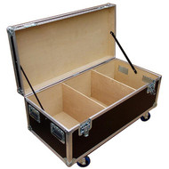 """Heavy Duty Cable Trunk Outside Dimensions 44-3/4"""" x  22-1/4"""" x 17"""" High (not including wheels) Fits 2 or 4 Wide in a Standard Truck Bare Wood Interior - 3 Compartments"""