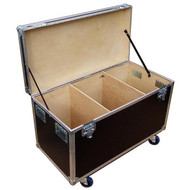 """Heavy Duty 3/8"""" Plywood Extra High Cable Trunk 44-3/4"""" x  22-1/4"""" x 25"""" High Fits 2 or 4 Wide in a Standard Truck Bare Wood Interior - 3 Compartments -  4"""" Heavy Duty Caster Included"""
