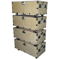 """48"""" Crate Style Trunk Cases - 1/2"""" Ply w/Wheels - 4 Pc Stacking Set"""
