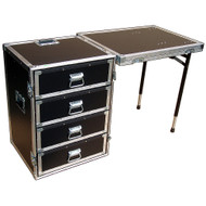 "4 Drawer Workstation w/Lid Table - 3/8"" Ply ATA Case w/Dolly Wheels"