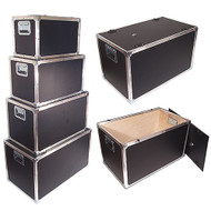 """New Design Latchless Flat Lid Trunks   1/4"""" Plywood All Aluminum Bound Recessed Handles Bare Wood Interior"""