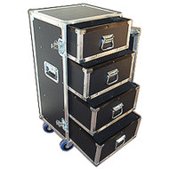 "4 Drawer ATA Work Cases with 4"" Casters 3/8"" ATA Construction with 1/4 Drawers Outside Dimensions 18"" x 17"" x 40"" Drawer Inside Dimensions 15-1/4"" x 13-3/4"" x 7-1/2"""