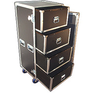 "4 Drawer ATA Work Cases with 4"" Casters 3/8"" ATA Construction with 1/4 Drawers Outside Dimensions 22"" x 21"" x 52"" (with wheels) Drawer Inside Dimensions 19-1/4"" x 17-1/4"" x 10-1/2"""